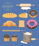 Set of bakery related design elements Stock Photo