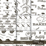 Set of bakery seamless patterns. Vector bake Stock Image