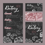 Set of bakery shop templates with menu, visit cards and reserved card based on sketch and lettering. Includes apple pie, black forest cake, muffin, doughnut Royalty Free Stock Photos