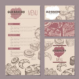 Set of bakery shop templates with menu, visit cards and reserved card. Includes hand drawn sketch of apple pie, black forest cake, muffin, doughnut and Stock Photos