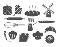Set of bakery silhouette icons and design elements Royalty Free Stock Images