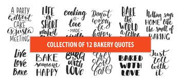Set of bakery vector hand drawn unique typography design elements for posters, greeting cards, decoration, prints. Royalty Free Stock Photos