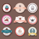 Set of bakery vector logo labels and badges. Collection of food icons Stock Image
