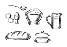 Set of baking ingredient icons. Black and white sketch baking ingredient icons with eggs, flour, milk, bread and butter Stock Photo