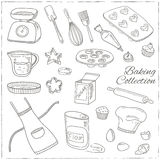 Set of Baking tools. Hand drawn collection. Stock Photography