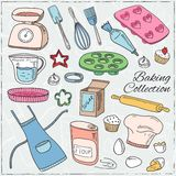 Set of Baking tools. Hand drawn collection. Royalty Free Stock Photography