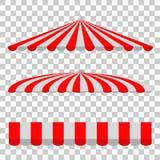 Set baldachim, czerwień, biel, prostokąt, trójbok i połówka owal przy Przejrzystym tłem, Obrazy Stock
