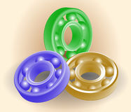 Set of ball bearings. Painted in different colors Stock Photos