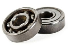 A set of ball bearings. A set of two ball bearings on an isolated background royalty free stock images
