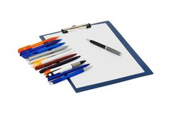 Set of ball pens and the note Royalty Free Stock Photo