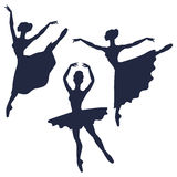 Set of ballerinas silhouettes on white background Stock Images