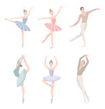 Set of ballet dancer. Vector illustration in flat style. Girl and guy in tutu dress, different choreographic position. Collection Royalty Free Stock Photos