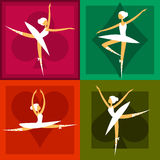 Set of 4 ballet dancers in colorful frames Stock Image