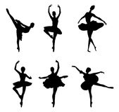 Set of ballet dancers silhouettes Stock Photo