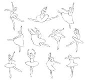 Set of ballet dancers silhouettes Royalty Free Stock Photography
