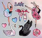 Set of ballet stickers, patches or elements. Royalty Free Stock Image