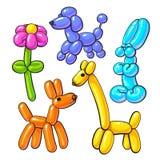 Set of balloon animals - dog, poodle, giraffe, flower, rabbit Royalty Free Stock Photography