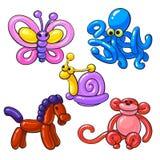 Set of balloon animals - horse, octopus, monkey, butterfly, snail Royalty Free Stock Photo