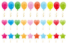 Set of balloons. Set of colorful cartoon classic balloons and also in the shapes of hearts and stars. Isolated on white background. Eps file available Royalty Free Stock Photos