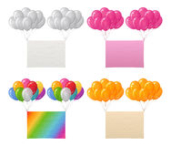 Set of balloons bunches with paper sheets. Set of Bunches of Colorful Balloons Flying with Paper Sheets of Various Colors, Elements for Holiday Design Royalty Free Stock Photos