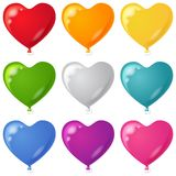 Balloons, heart shaped, set. Set of balloons in the form of hearts various beautiful colors, isolated, eps10, contains transparencies Royalty Free Stock Photo
