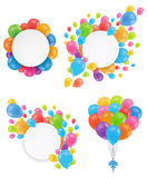 A set of balloons. Round white festive frames. Design for a birthday, wedding, save the date. Flying multicolored balloons. Vector illustration Stock Photo