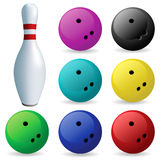 Set of balls. Bowling. Bowling. Skittles and balls on a white background Stock Photo
