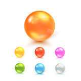 Set Of Balls. Colorful Vector Photo Realistic Set Of Balls - Piles, Capsules, Glass Spheres Or Beads Royalty Free Stock Photos