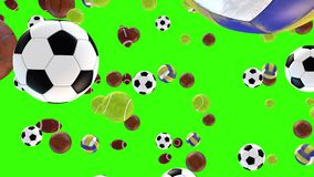 Set of balls 3D falling down on green screen background - Ready to chroma key - Video 4K vector illustration
