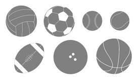 Set of balls for different sports. Set of seven balls for different sports isolated and editable Stock Images
