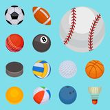 Set of balls isolated tournament win round basket soccer hobbies game equipment sphere vector illustration Stock Photos