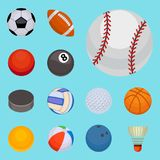 Set of balls isolated tournament win round basket soccer hobbies game equipment sphere vector illustration Stock Photo