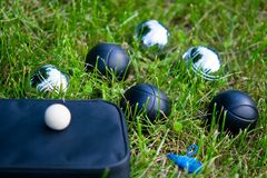 Set of balls for playing bocce on the lawn stock images
