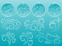 Set of balls and scrolls. A set of Christmas balls and design scrolls Stock Photo