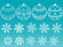 Set of balls and snowflakes. A set of Christmas balls and snowflakes Royalty Free Stock Images