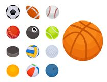 Set of balls  tournament win round basket soccer hobbies game equipment sphere vector illustration Royalty Free Stock Photography