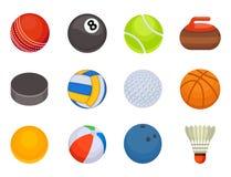 Set of balls  tournament win round basket soccer hobbies game equipment sphere vector illustration Royalty Free Stock Photos
