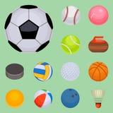 Set of balls  tournament win round basket soccer hobbies game equipment sphere vector illustration Royalty Free Stock Images