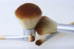 A set of bamboo brushes for applying makeup Royalty Free Stock Image