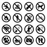 Set ban icons Prohibited symbols Royalty Free Stock Images