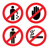 Set ban icons Stock Photos