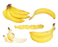 Set of bananas isolated on white, with clipping path Stock Photo