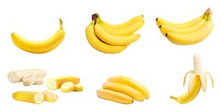 Set of bananas isolated. Set of bananas whole and slices isolated on white background. Clipping path included Stock Photos