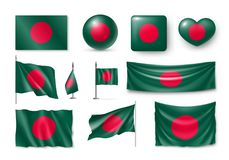 Set Bangladesh flags, banners, banners, symbols, flat icon. Vector illustration of collection of national symbols on various objects and state signs stock illustration