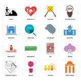 Set of bank branch, advisor, request a quote, xxx, hospitality, car dealer, municipal, shotgun, hiker icons. Set Of 16 simple  icons such as bank branch, advisor Stock Image