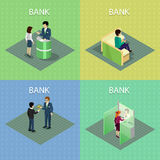 Set of Bank Concepts in Isometric Projection. Stock Images
