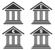Set of bank icon isolated stock image