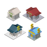 Set bank Isometric  Building Vector Royalty Free Stock Images
