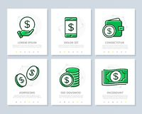 Set of bank and money colored elements for multipurpose a4 presentation template. Leaflet, corporate report, marketing Royalty Free Stock Photography