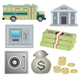 Set of bank objects. Set of bank objects on the white background. ATM and safe box, coins and banknotes, bus and bank building Stock Image